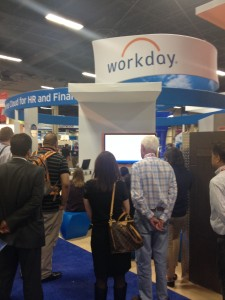 Dave Duffield listens in on a demo at the Workday booth