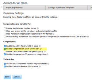 Company Settings within Compensation Home